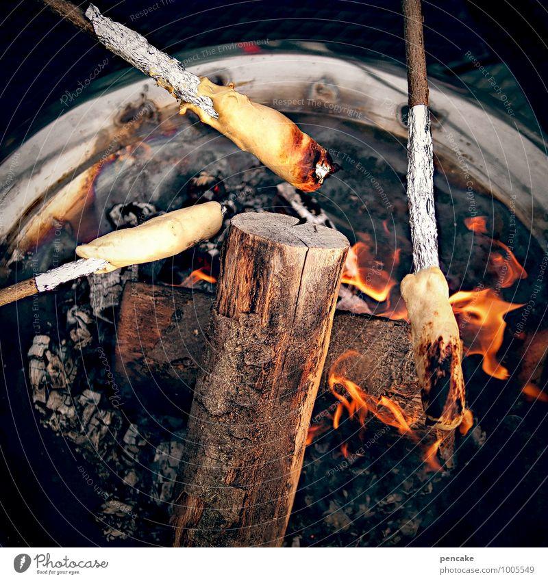 spießig | stockbrot Ernährung Duft Freizeit & Hobby Feste & Feiern Natur Urelemente Feuer Sommer entdecken genießen Brot aufgespiesst Glut Grillen
