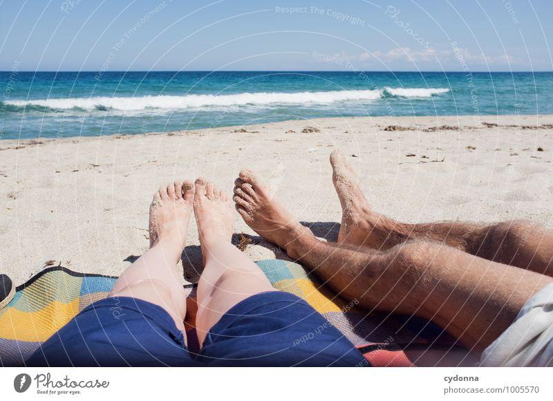 Lang machen Mensch Ferien & Urlaub & Reisen Jugendliche Sommer Junge Frau Sonne Erholung Meer Junger Mann 18-30 Jahre Ferne Strand Erwachsene Leben Glück