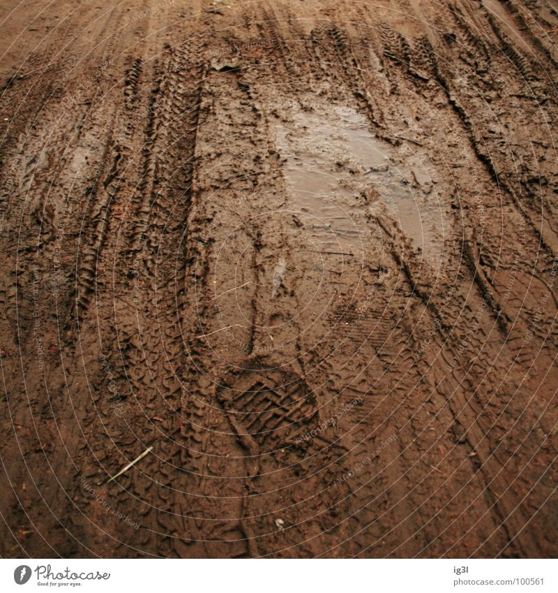 puddle of mud Pfütze dunkel Außenaufnahme Fußspur braun Mountainbike Überqueren Schlamm Lehm Muster Quadrat Freizeit & Hobby Spielplatz toben Verkehrswege