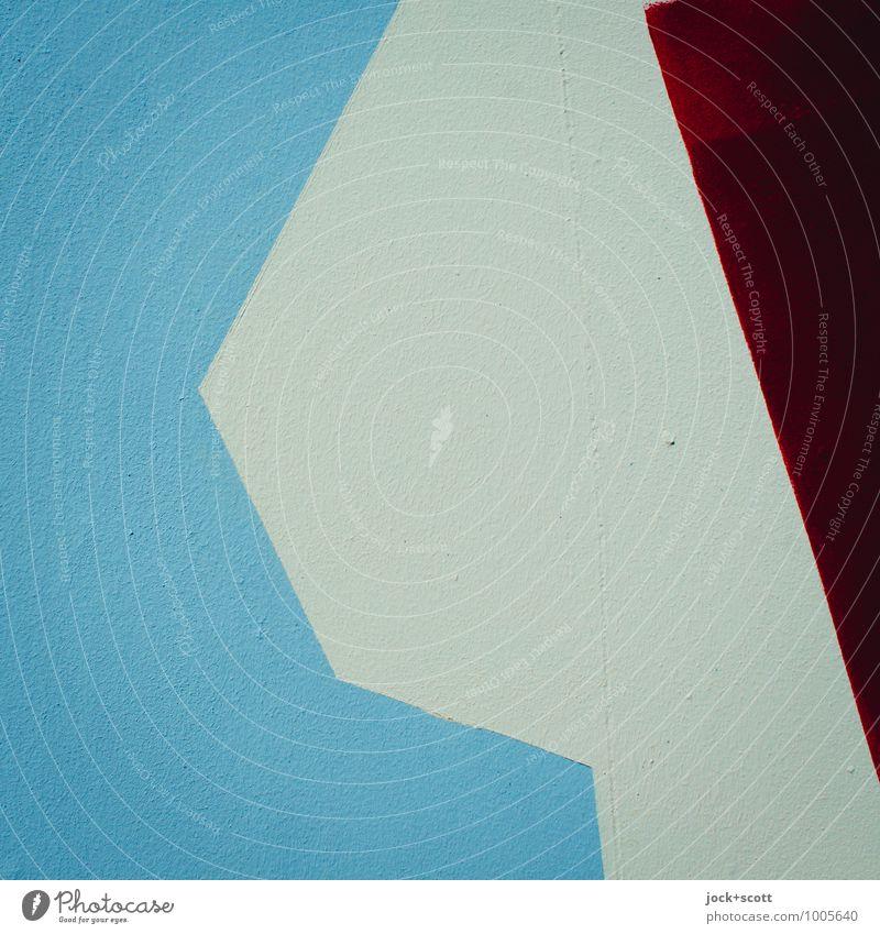 Kurzfassung Straßenkunst Beton Geometrie eckig einfach blau rot Kreativität Oberfläche gestalten beige 3 Farbenspiel minimalistisch Hintergrundbild