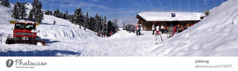 Schneeraupe Winter Berge u. Gebirge Holz Europa Skifahren Alpen Hütte Österreich Bundesland Tirol Wintersport Skipiste Kettenfahrzeug Après-Ski Zillertal fügen