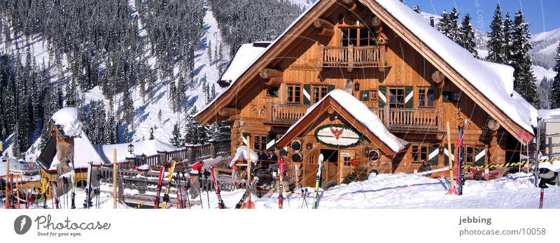 Holzhütte Winter Ernährung kalt Schnee Berge u. Gebirge Europa Skifahren Alpen Hütte Österreich Wintersport Bundesland Tirol Landhaus Sport Winterurlaub
