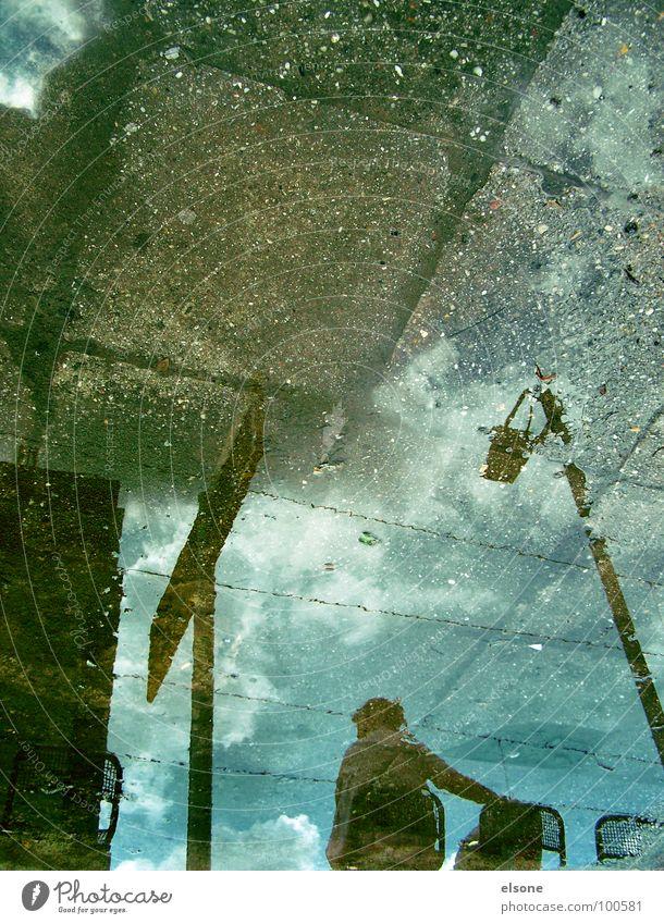esperar2 Wolken braun Reflexion & Spiegelung Pfütze Herbst Laterne Dresden schön Einsamkeit trist Verkehrswege Wasser Stein blau Rost reflektion sitzen