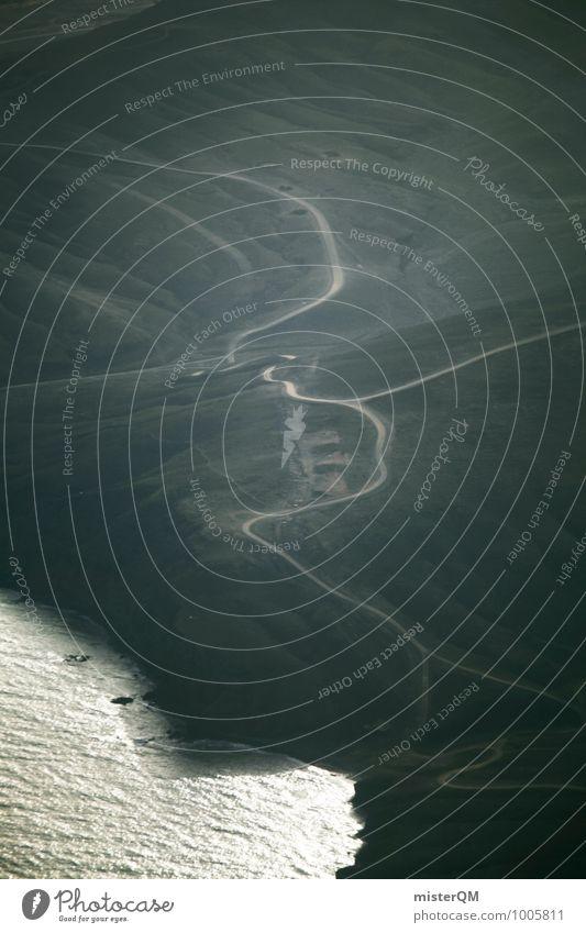 Pfade. Umwelt Natur ästhetisch Wege & Pfade Wegekreuz Straße Landschaft grün Insel Fuerteventura Küste Klippe Farbfoto Gedeckte Farben Außenaufnahme Experiment