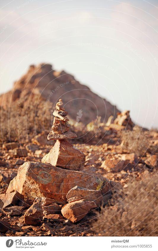 Wegpunkt. Natur Einsamkeit Umwelt Wege & Pfade Stein Erde Zufriedenheit Schilder & Markierungen ästhetisch Fußweg Spanien mediterran abgelegen Stapel steinig old-school