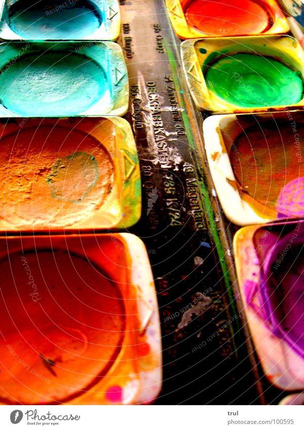 Wasserfarben Kunst mehrfarbig Farbkasten rot grün Farbe streichen blau