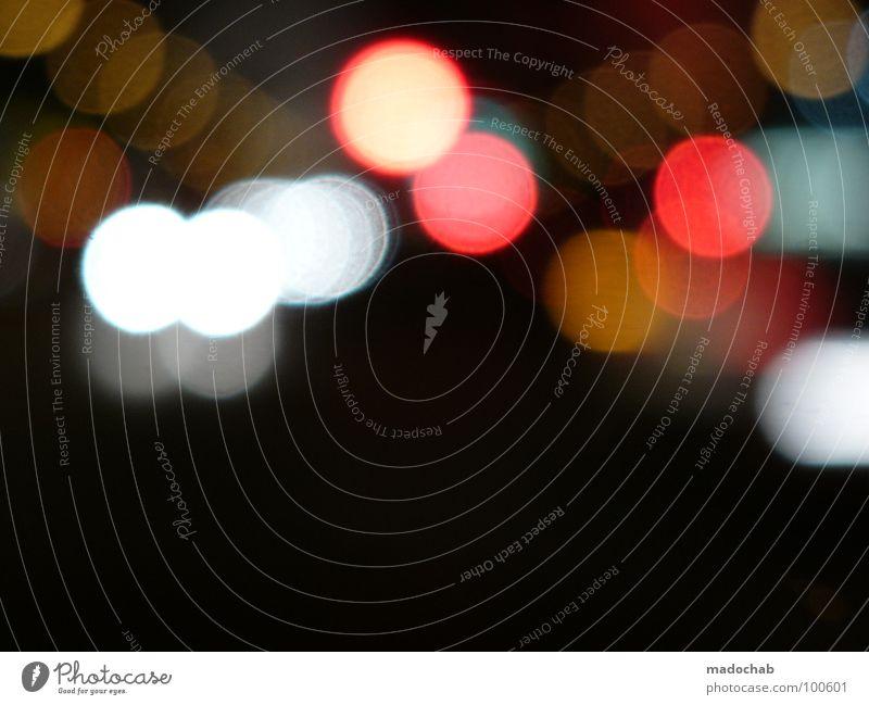 STREETLIGHTS Licht dunkel Unschärfe Nacht schwarz Lampe Verhext Spielen Fehler schön mehrfarbig additive Farbmischung RGB grell strahlend Kreis gefährlich