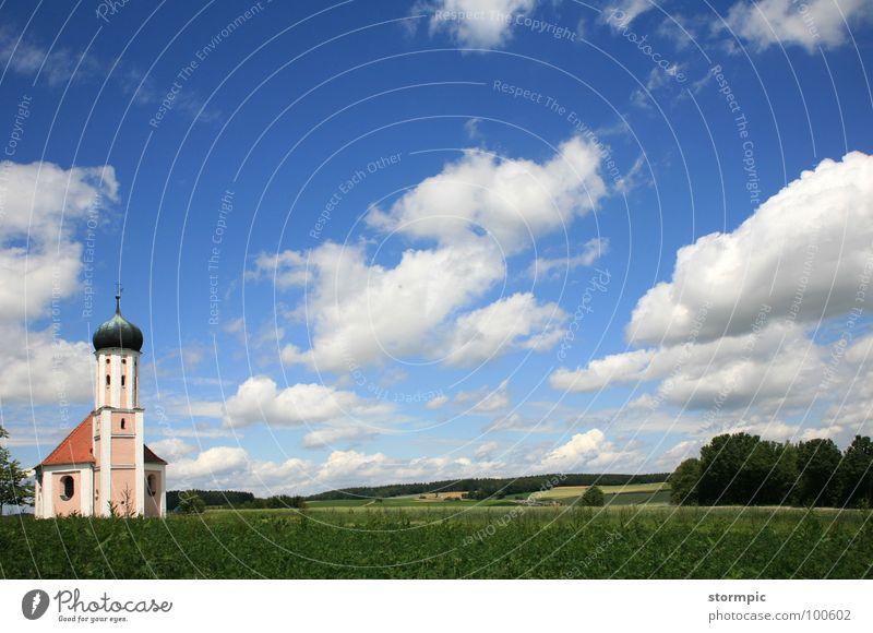 Bayern weiß-blau Wolken Zwiebelturm Sommer Sauberkeit grün Frieden ruhig Pause Gebet Gotteshäuser Panorama (Aussicht) Amerika Landschaft Himmel