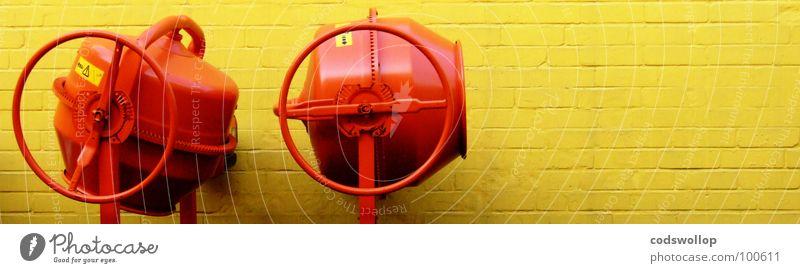 players three and four gelb Arbeit & Erwerbstätigkeit Wand Mauer Sand orange Baustelle Mischung Musikmischpult Automatisierung Fachmann Mischmaschine Portland