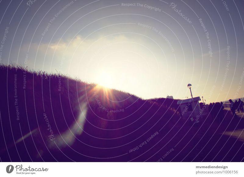 Dünensonne Urelemente Erde Sand Luft Wasser Himmel Wolkenloser Himmel Sonne Sonnenlicht Winter Schönes Wetter Küste Strand Nordsee Insel Sylt Bewegung Denken