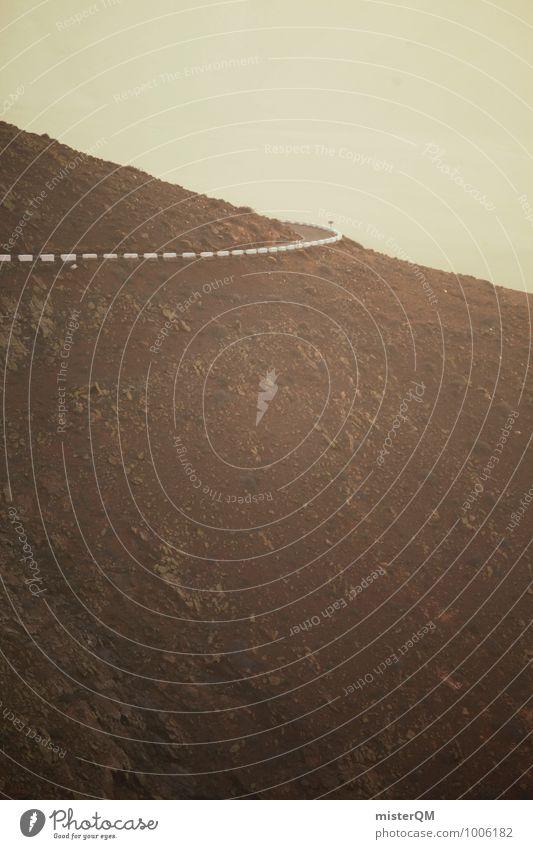 Um die Ecke. Kunst ästhetisch Straße Kurve Berge u. Gebirge Berghang braun Fuerteventura Aussicht Urlaubsstimmung Farbfoto Gedeckte Farben Außenaufnahme