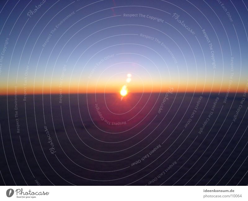 Sonnenaufgang Flugzeug Morgen Himmel Luftverkehr fliegen
