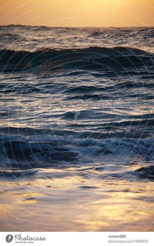 Orange Sea. Natur Ferien & Urlaub & Reisen Meer Umwelt Idylle Zufriedenheit Wellen ästhetisch Romantik verträumt friedlich Wellengang Meerwasser Urlaubsfoto Wellenform Urlaubsort