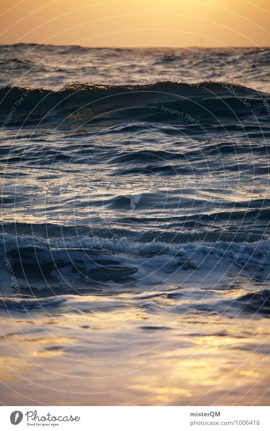 Orange Sea. Umwelt Natur ästhetisch Zufriedenheit Wellen Wellengang Wellenform Wellenschlag Wellenkuppe Meer Meerwasser Ferien & Urlaub & Reisen Urlaubsfoto