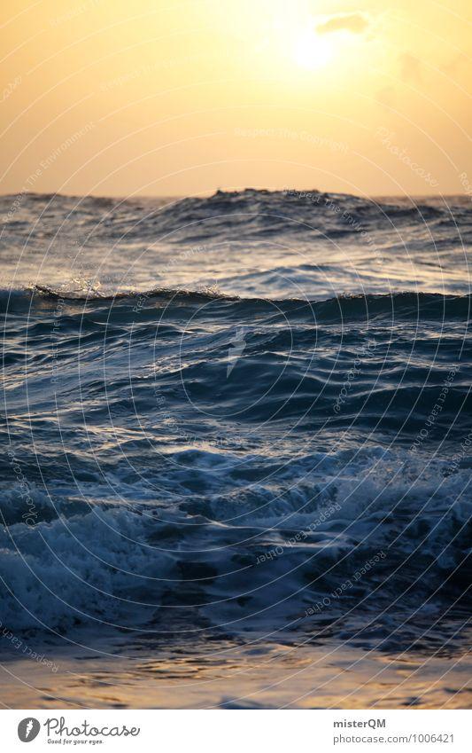 Sonnenmeer. Umwelt Natur Landschaft ästhetisch Zufriedenheit Meer Meerwasser Meerstraße Meeresspiegel Brandung Wellen Wellengang Wellenform Wellenschlag
