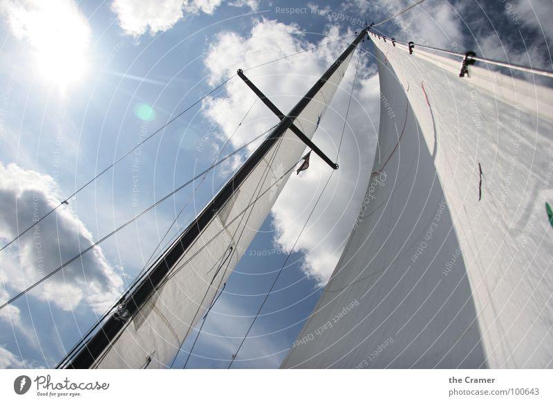 Mast und Segel Wasser Himmel Wolken Sport Spielen Wasserfahrzeug Wind Stoff Segeln Strommast Segel Tuch Wassersport