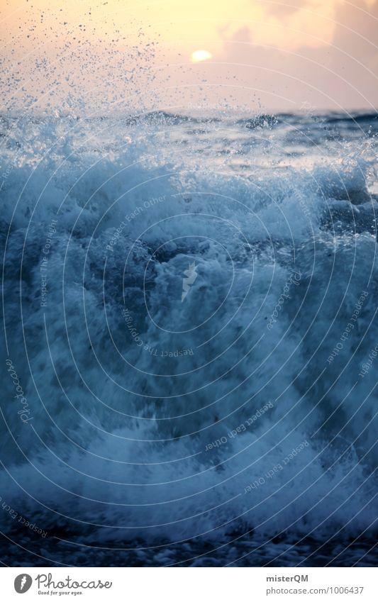aufgewühlt. Kunst ästhetisch Wellen Wellengang Wellenform Wellenschlag Wellenkuppe brechen Küste Gischt Brandung Sommerurlaub Meer Meerwasser toben Farbfoto
