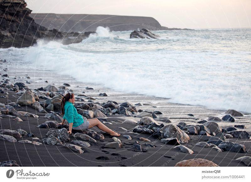 Black Bay I Umwelt Natur Landschaft ästhetisch Zufriedenheit Zukunft Strand Küste sitzen Jugendliche Jugendkultur Junge Frau Meer Meerwasser Wellen Ferne