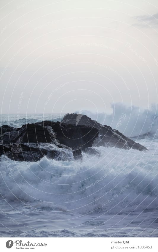 Fels in der Brandung. Natur weiß Meer Landschaft Umwelt Küste Felsen Zufriedenheit Wellen Wind ästhetisch Leidenschaft Brandung rau Gischt Wellengang