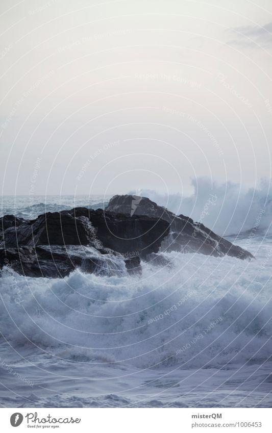 Fels in der Brandung. Umwelt Natur Landschaft ästhetisch Zufriedenheit Wellen Wellengang Wellenform Wellenlinie Wellenkuppe Wellenkamm weiß Gischt Felsen