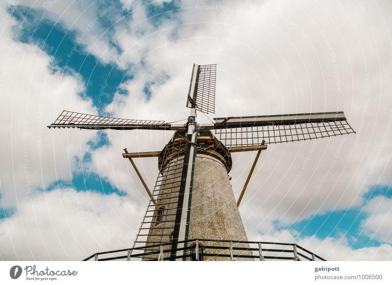 es klappert die Mühle Ferien & Urlaub & Reisen Abenteuer Ferne Himmel Wolken natürlich retro blau braun Beginn anstrengen Zufriedenheit Geschwindigkeit Glück