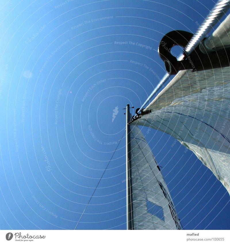 Vorstag Takelage Segeln Sommer Meer Pause Vorliek Stagreiter Vorsegel Strommast Himmel blau Sonne Wind Freiheit