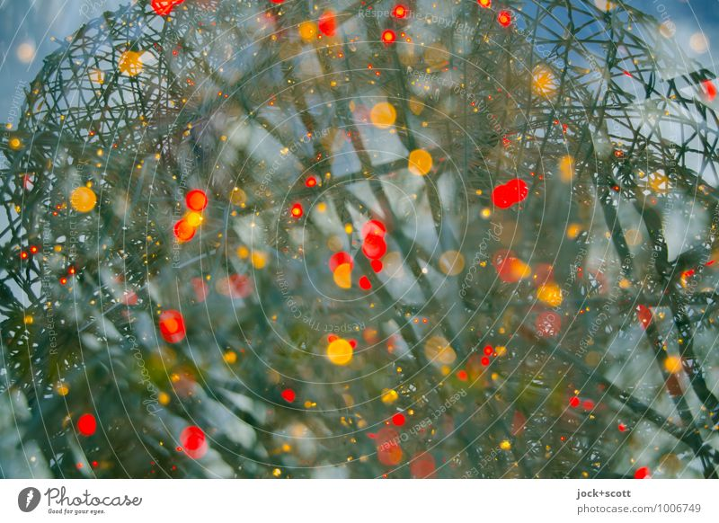 Farbkosmos Glück Veranstaltung Himmel Weihnachtsbeleuchtung Linie Netzwerk Kugel glänzend leuchten außergewöhnlich groß Unendlichkeit positiv viele Euphorie