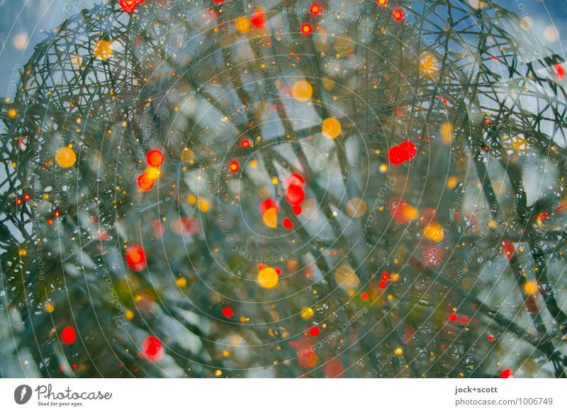 Farbkosmos Weihnachtsbeleuchtung Linie Netzwerk Kugel glänzend leuchten außergewöhnlich groß Unendlichkeit positiv viele Leidenschaft chaotisch komplex
