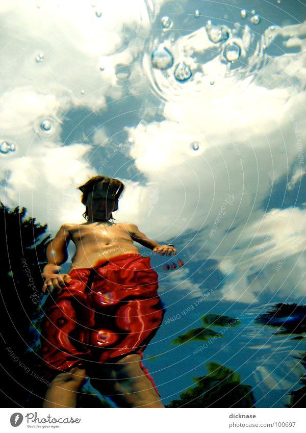 My underwater point of view Himmel rot Sommer Wolken Wärme Schwimmbad Physik Schwimmen & Baden Verzerrung Badehose Wasseroberfläche