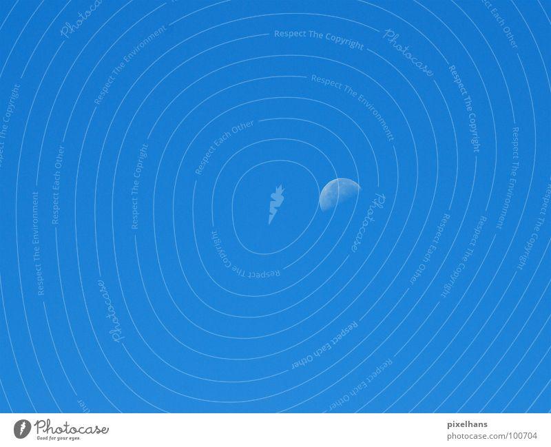 Blaues Wunder Himmel blau Stimmung Hintergrundbild Wetter Mond Schönes Wetter Blauer Himmel Wolkenloser Himmel Halbmond Halbkreis Sichelmond Klarer Himmel