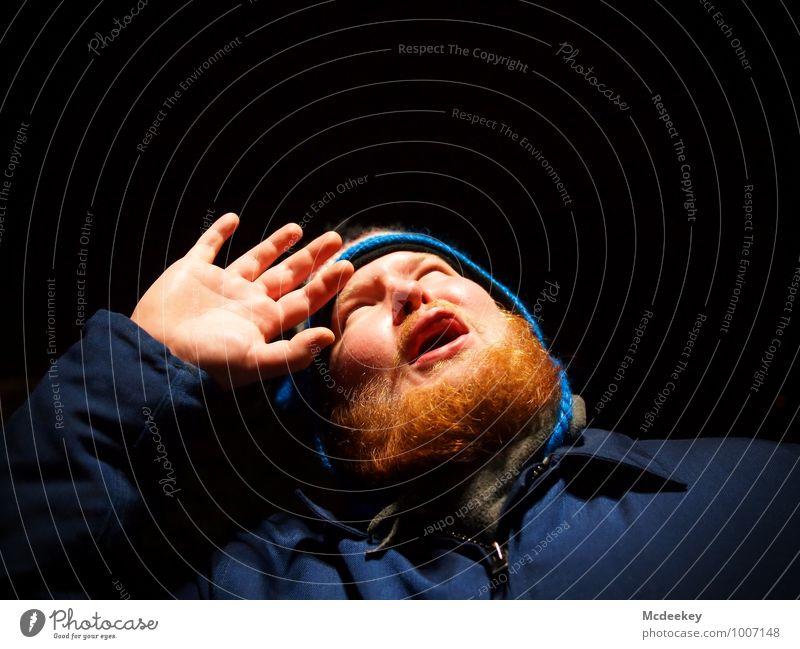 Oh no! Mensch maskulin Junger Mann Jugendliche Freundschaft Kopf Gesicht Nase Mund Lippen Bart Hand Finger 1 18-30 Jahre Erwachsene beobachten Blick authentisch