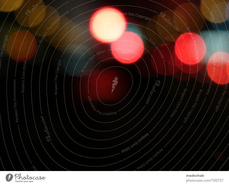 DON'T TRY TO FIND US Licht dunkel Unschärfe Nacht schwarz Lampe Verhext Spielen Fehler schön mehrfarbig additive Farbmischung RGB grell strahlend Kreis