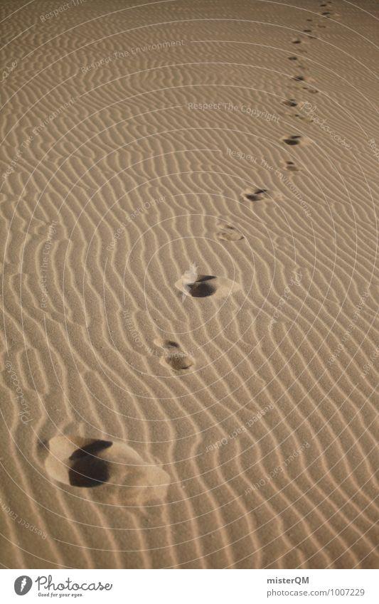 Wüstentod. Umwelt Natur ästhetisch Fußspur Sand Sahara Spuren Zeit Vergangenheit Vergänglichkeit Muster Strukturen & Formen Farbfoto Gedeckte Farben