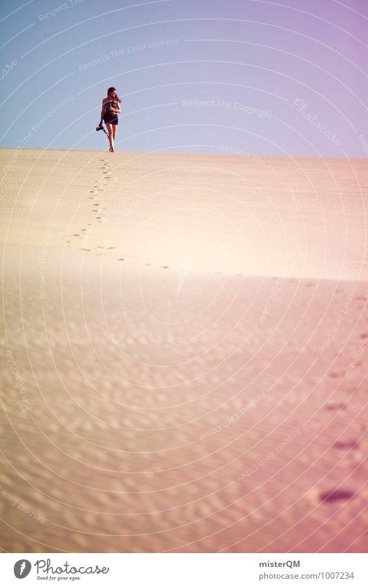 Wanderdüne III Einsamkeit Wärme gehen Kunst Zufriedenheit wandern Klima ästhetisch Abenteuer Wüste Model Luftspiegelung