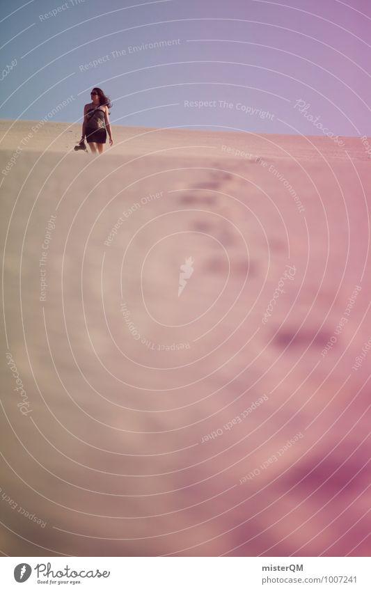 Wanderdüne VI Kunst ästhetisch Wüste Düne Strand Stranddüne Strandspaziergang Strandleben Frau laufen Idylle Urlaubsstimmung Model Wärme Sommerurlaub sommerlich