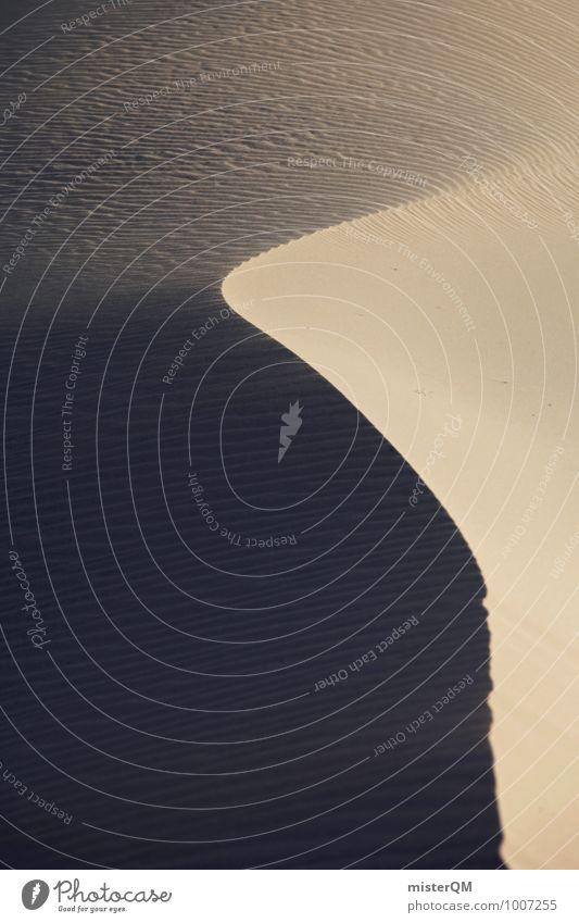 Wüste mit Schwung. Kunst ästhetisch Zufriedenheit Symmetrie Sandstrand Wärme abgelegen Stranddüne Farbfoto Gedeckte Farben Außenaufnahme Nahaufnahme Experiment