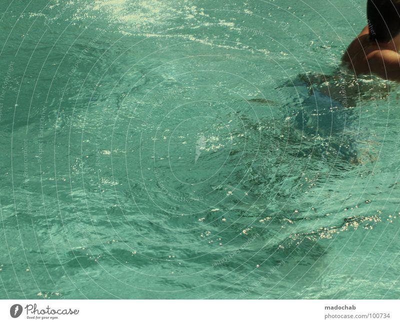TOILETTENGANG Mensch Wasser Ferien & Urlaub & Reisen Hand Sommer Bewegung Gesundheit Schwimmen & Baden Wellen Arme Freizeit & Hobby laufen nass retro Schwimmbad