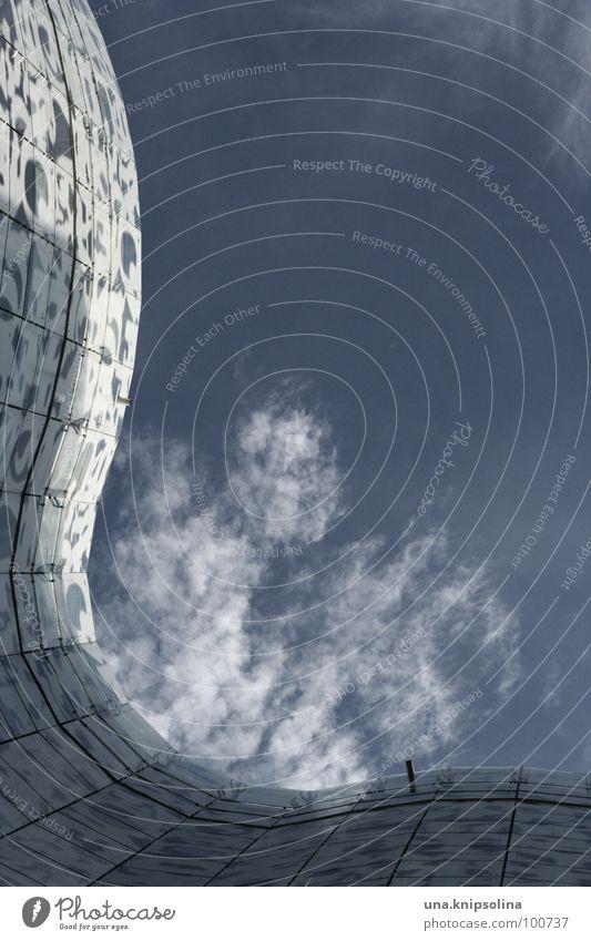 wave blau weiß Wolken Architektur Fassade Wellen Glas Buchstaben Fuge Schwung Bibliothek Raster himmelblau Druckerzeugnisse organisch Cottbus