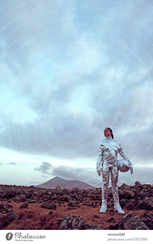 Hello VII Kunst Abenteuer ästhetisch Kreativität Design Frau Emanzipation Astronaut Mars Marslandschaft Kraft Mensch Weltall Außerirdischer Farbfoto
