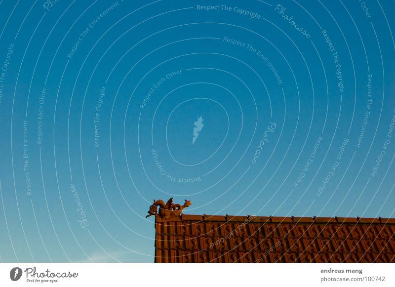 Mein kleiner roter Drache I Himmel blau Haus Einsamkeit gefährlich Dach Backstein Fantasygeschichte