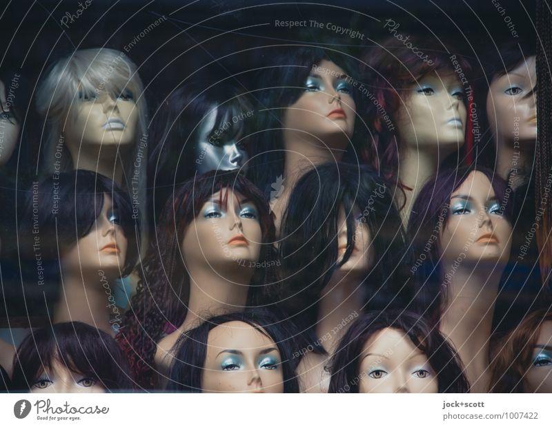 verrückte Haare Stil Freude Schaufensterpuppe feminin Kopf Gesicht Perücke Menschengruppe Büste Sammlung warten trendy schön einzigartig retro Akzeptanz