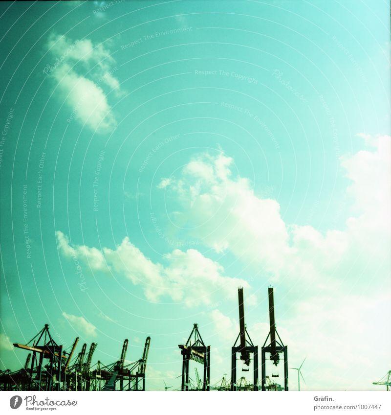 Hamburg forever Himmel blau Sommer schwarz Frühling Schönes Wetter Industrie Hamburg Güterverkehr & Logistik Hafen Sehenswürdigkeit Skyline Wahrzeichen Tradition Flussufer Schifffahrt