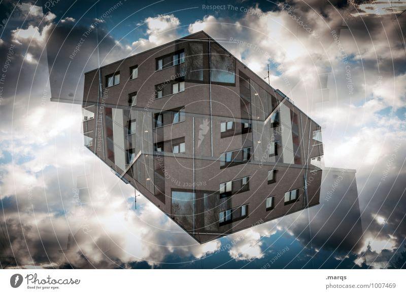 Kubus Himmel Wolken Haus Fenster Architektur Stil Gebäude außergewöhnlich Fassade Wohnung Business Ordnung Häusliches Leben Design modern Perspektive