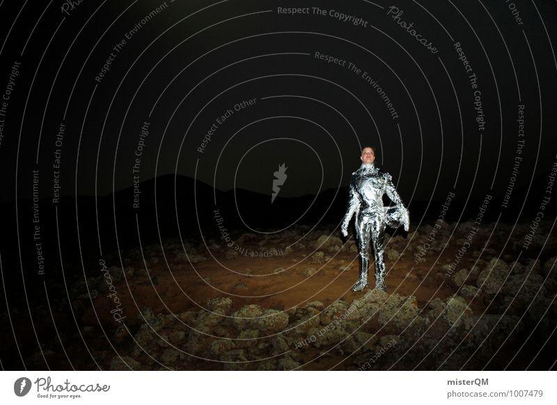 Hello XI Frau Kunst Abenteuer silber Kunstwerk Nachthimmel Helm Außerirdischer Nachtaufnahme Astronaut Raumfahrt Erkundung Nachtschattengewächse Pionier
