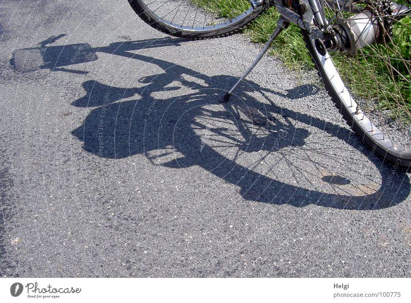Fahrrad wirft seinen Schatten auf einen Asphaltweg stehen Fahrradtour Felge Ständer Korb Speichen Schattenspiel Pause Sommer Gras Straßenrand unterwegs Freude