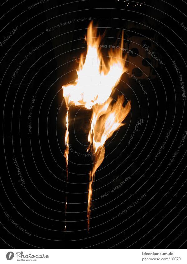 Schwedenfeuer Holz brennen Baumstamm Flamme Glut