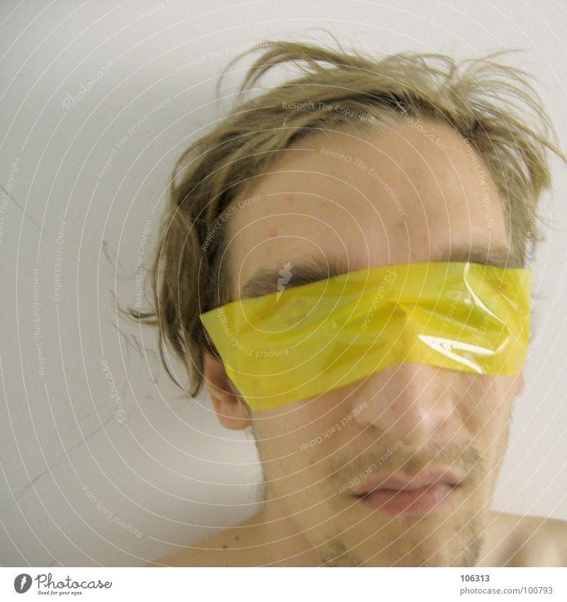 DON'T TRUST THE DEVIL [0125/02] Mensch Mann Natur Ferne gelb Haare & Frisuren Kopf Kunst Angst Arme außergewöhnlich Mund Haut Nase ästhetisch Kommunizieren