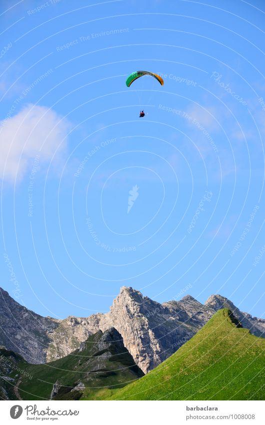 Hoch soll er leben! Sport Gleitschirmfliegen 1 Mensch Natur Landschaft Luft Himmel Sommer Alpen Berge u. Gebirge Allgäuer Alpen Nebelhorn (Berg) Gipfel hoch