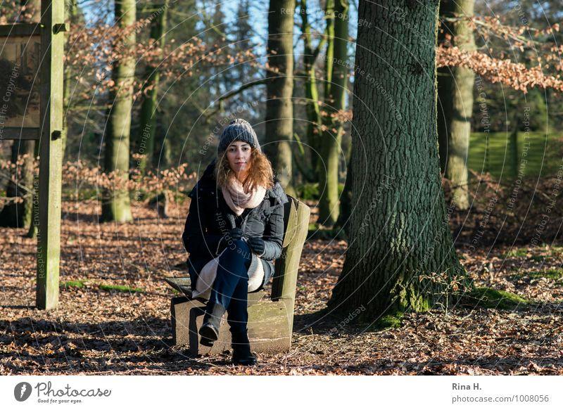 InneHalten Junge Frau Jugendliche 18-30 Jahre Erwachsene Winter Wald Jacke Mantel Mütze brünett langhaarig Locken Erholung sitzen schön natürlich Buchenwald