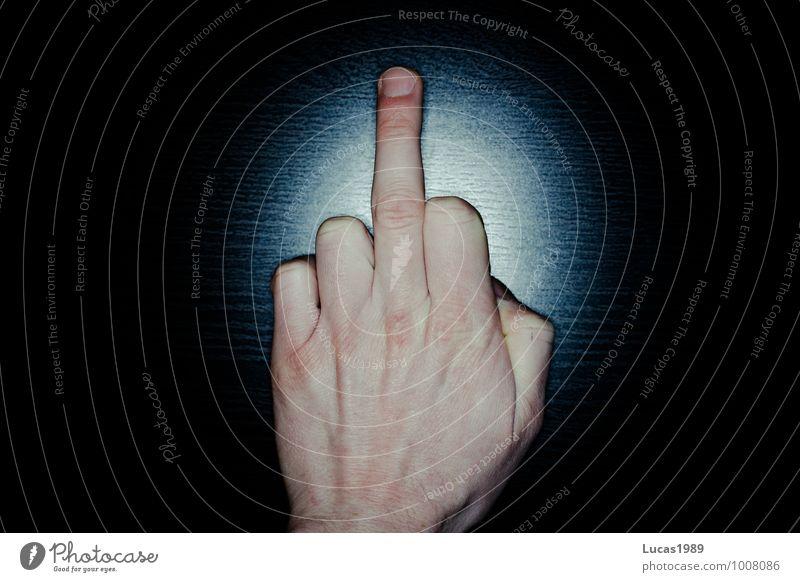 Oh fuck.... blau schwarz Körper Haut Finger Wut zeigen gestikulieren Hass Stinkefinger